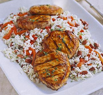 Smoky Pork Chops with Rice
