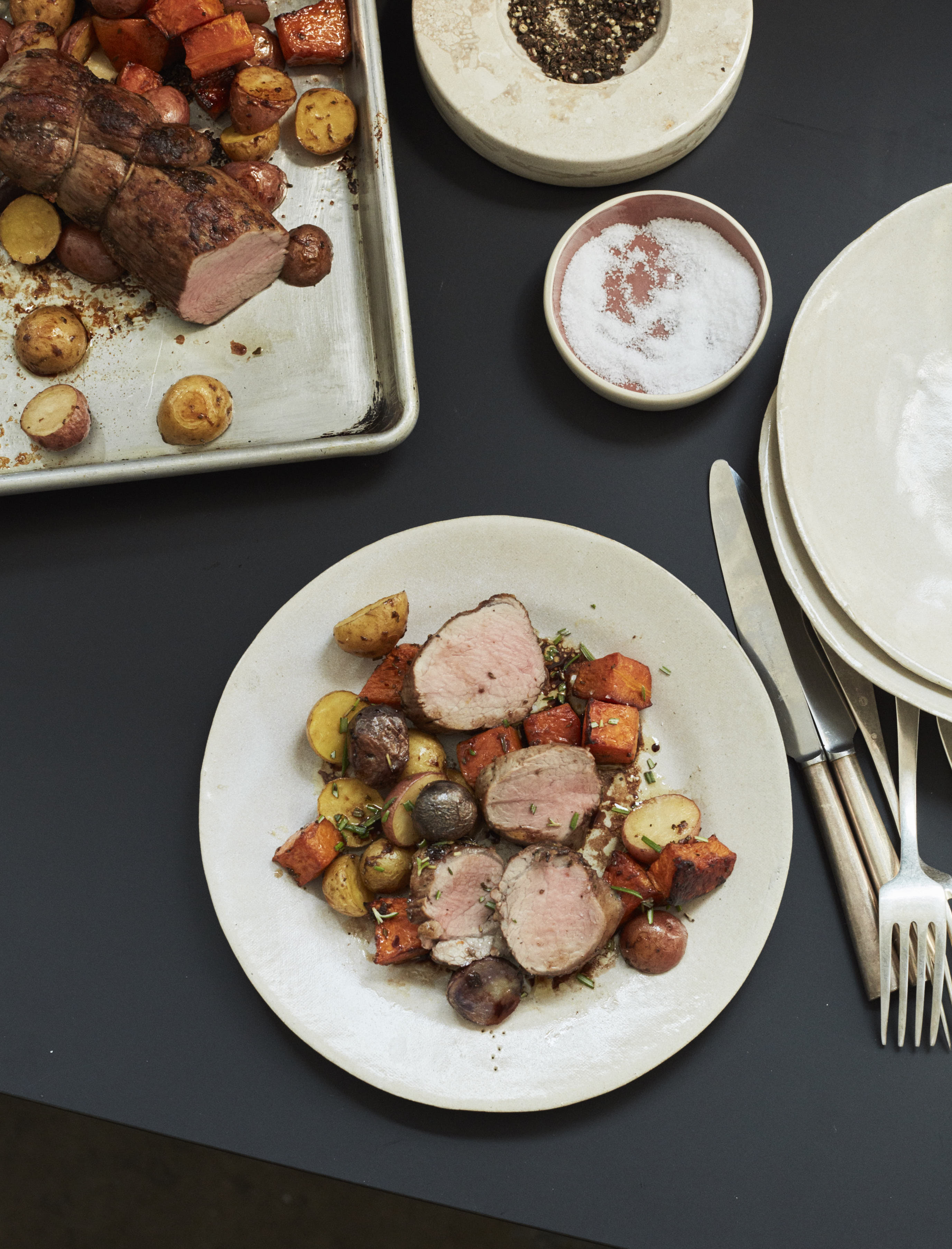Sheet Pan roasted Pork Tenderloin with Butternut Squash and Potatoes balsamic rosemary