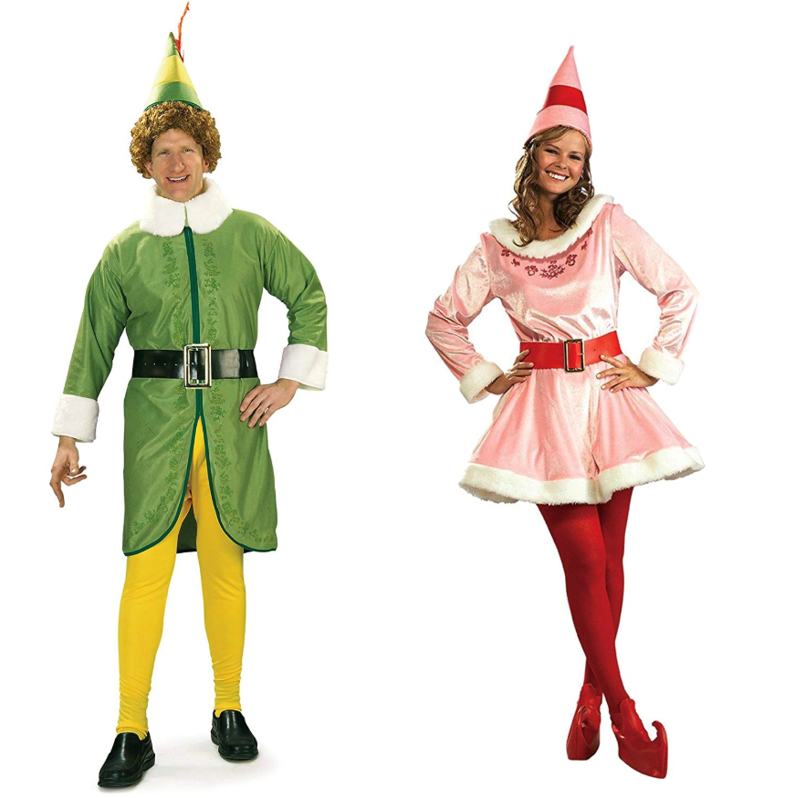Most people either love or hate 'Elf,' the hilarious Christmas movie in which 6′ 3″ Will Ferrell portrays Buddy the Elf who lives in the North Pole and moves to New York City. In the former camp? Then this costume is for you. And don't forget about Jovi, Buddy's love interest played by the always funny Zooey Deschanel. Costumes come with:Buddy the ElfGreen fleece jacket with gold accents and white faux-fur trim, black belt, yellow pants, and cone hatJoviPlush pink dress with white faux fur trim, red belt with a gold-tone buckle, red shoe covers, and cone hat. Does not include tights.Buy: amazon.com, $81.65RELATED: Go Ahead, Eat Your Child's Halloween Candy