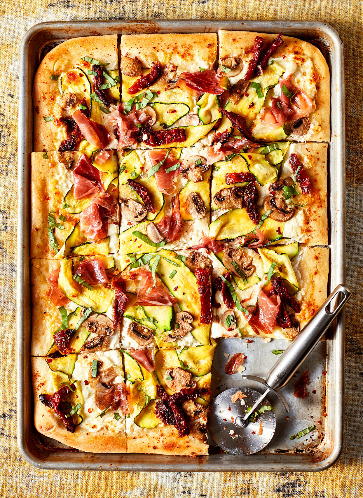 Shaved Vegetable and Prosciutto Pizza