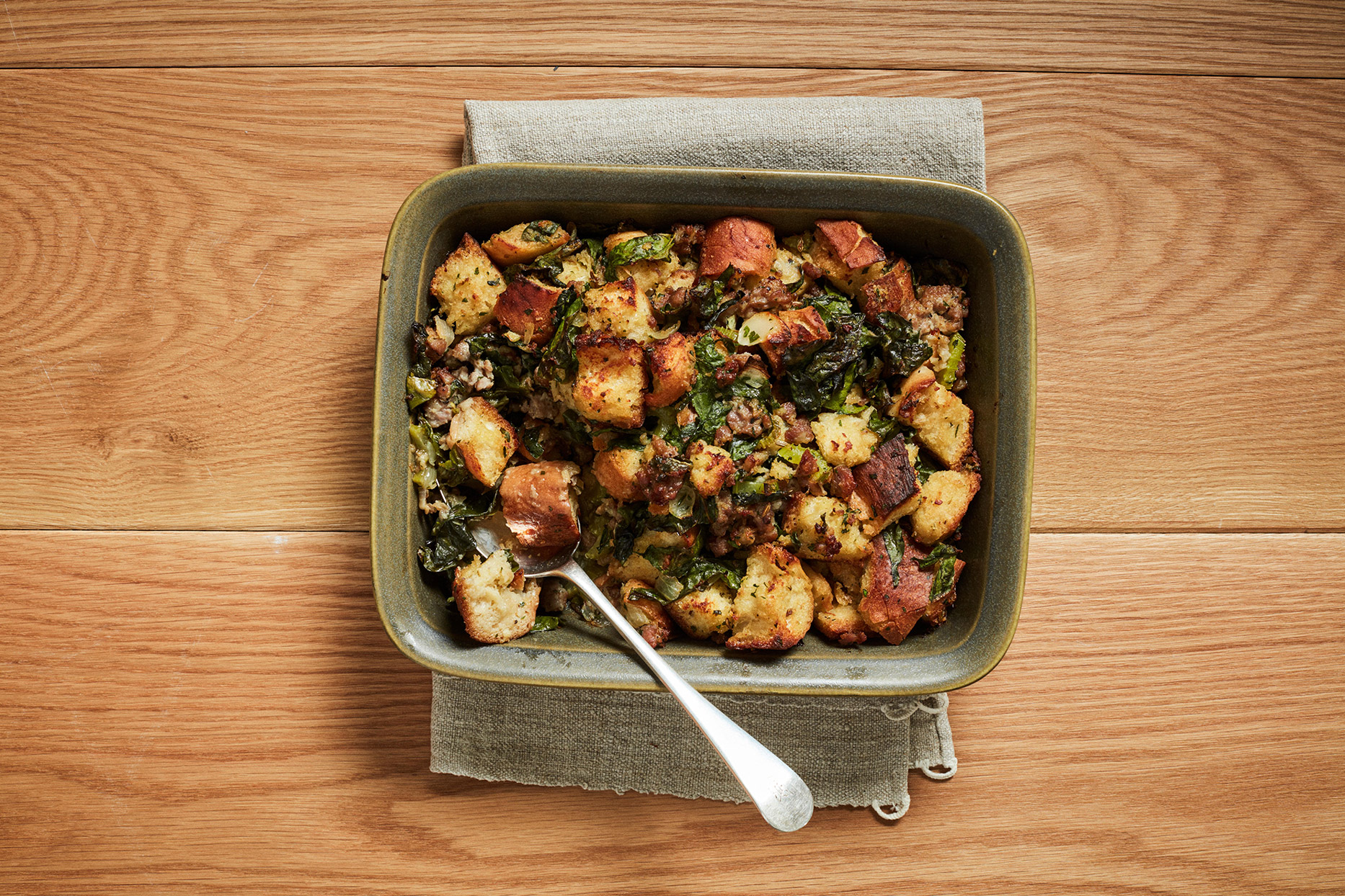 Chard and Sausage Stuffing
