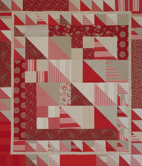 Triangle-Squares Bed Quilt