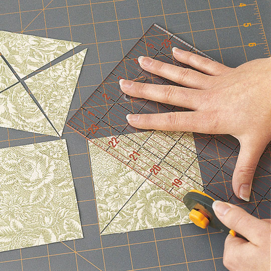 Cutting Quarter-Square Triangles (left-handed)