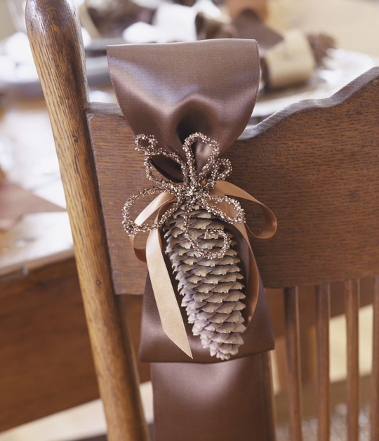 Glitzy Pinecone Chair Décor