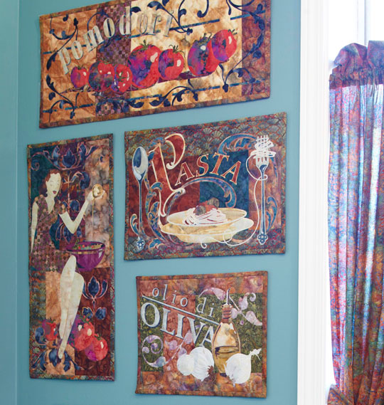 These quilts, part of McKenna's Cucina Italiana series, a