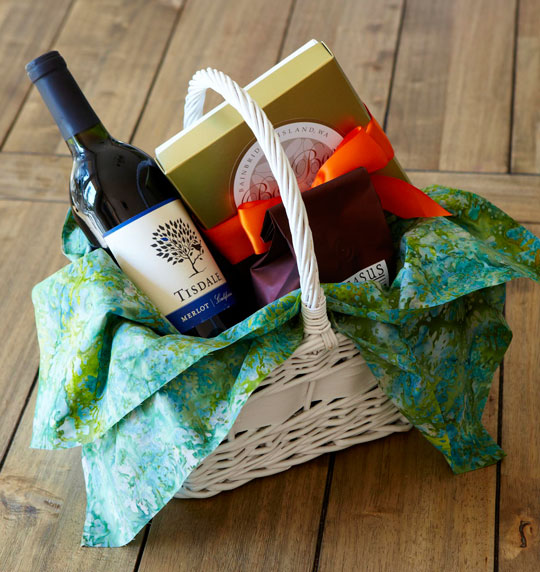 Guests to Island Nest are greeted with a basket of locally