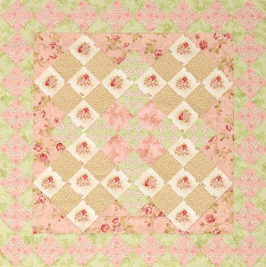 Pink Floral Nine-Patch