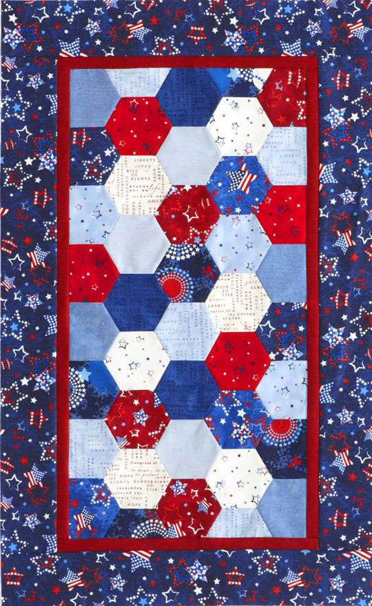 Patriotic Hexagons Table Runner
