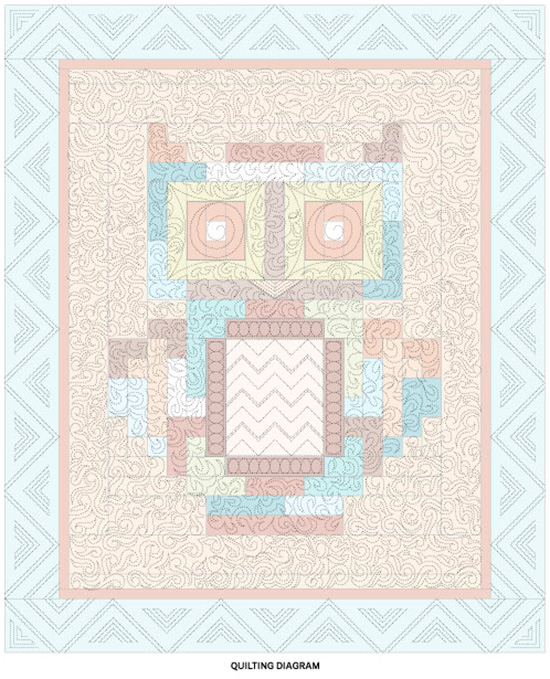 What a Hoot Throw Quilting Diagram