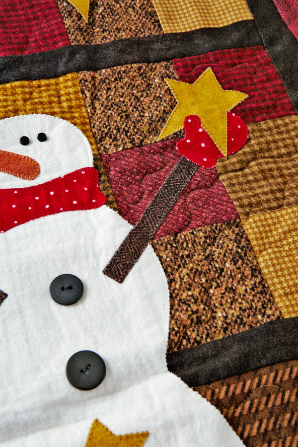 Starring Snowmen Machine-Quilting Detail