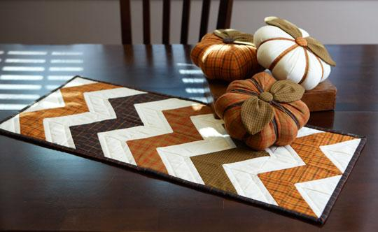 Fall Table Runner and Pumpkins