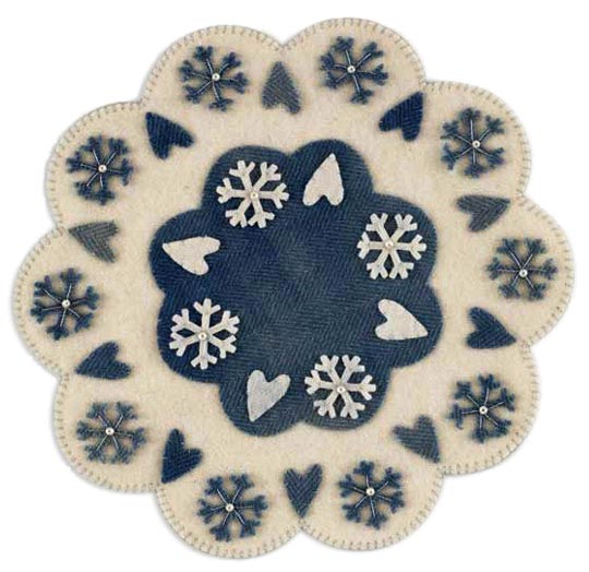 Snowflakes & Hearts Wool Table Mat