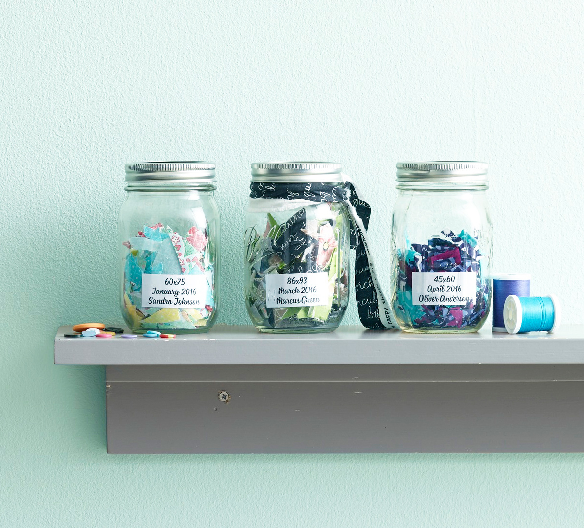mason jars on shelf