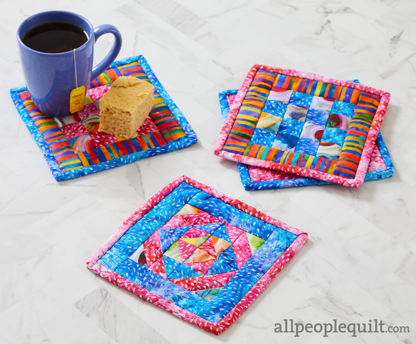 colorful mug rugs