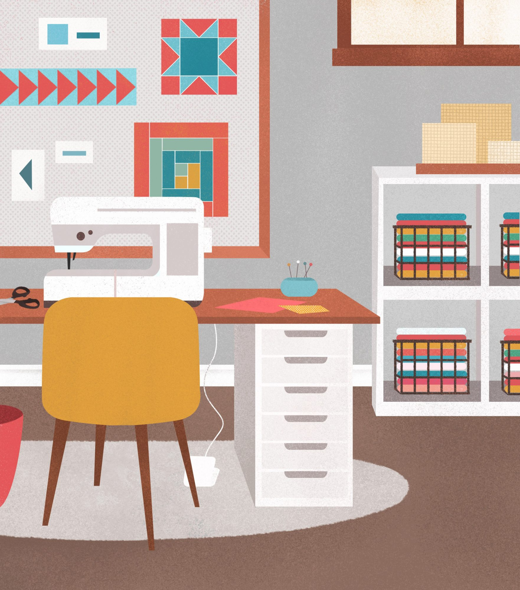 sewing room illustration