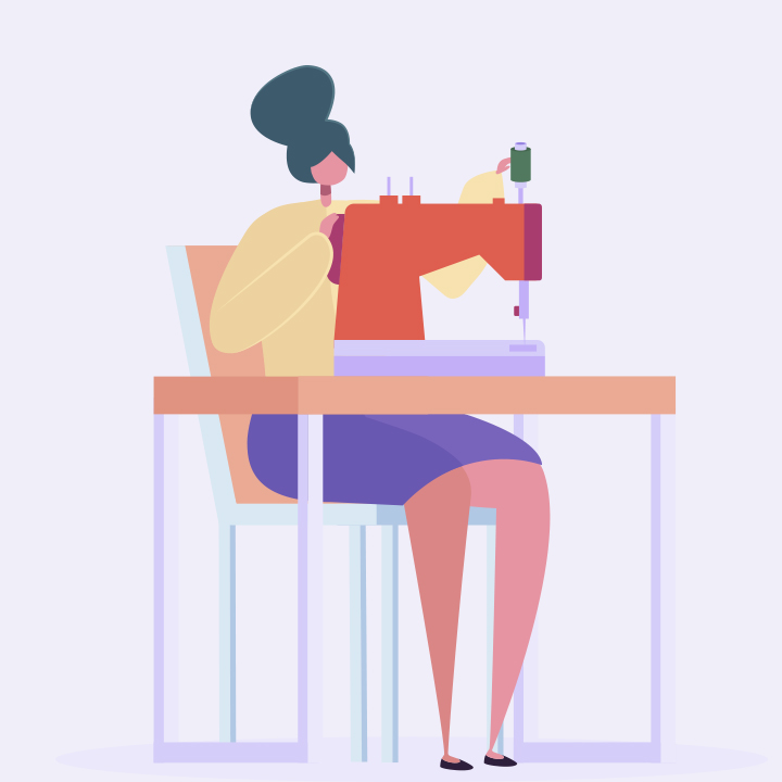 Illustrated woman sewing