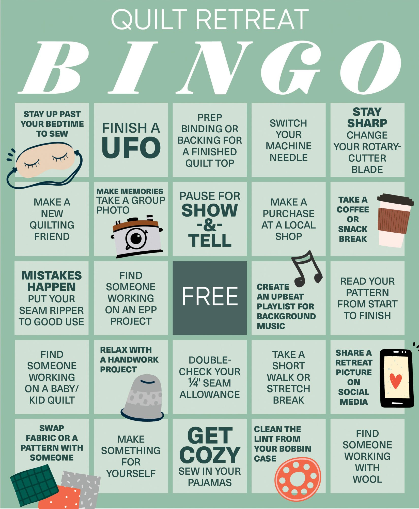 Quilt Retreat Bingo