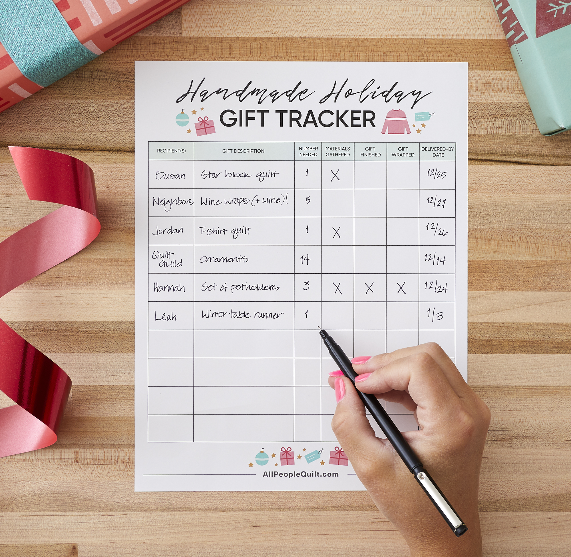 Handmade Holiday Gift Tracker