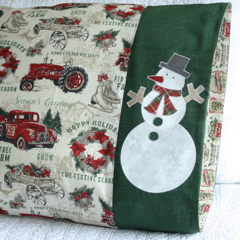 Snowman applique pillowcase in Northcott Fabrics