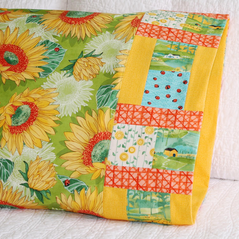 Turned brick pillowcase in Moda Fabrics