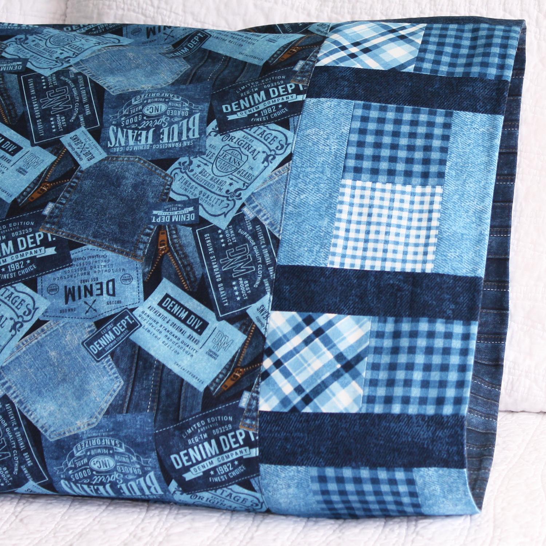 Turned bricks pillowcase in Northcott Fabric.