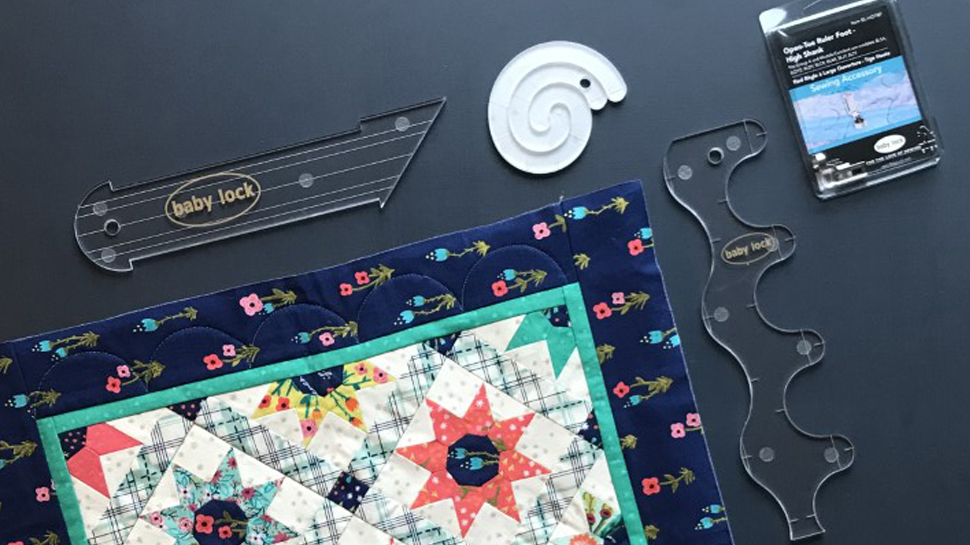 Quilt with acrylic machine quilting rulers