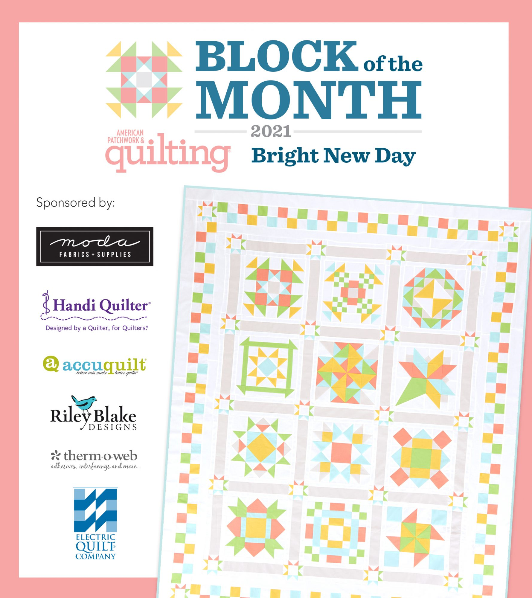 Block of the Month image with sponsors