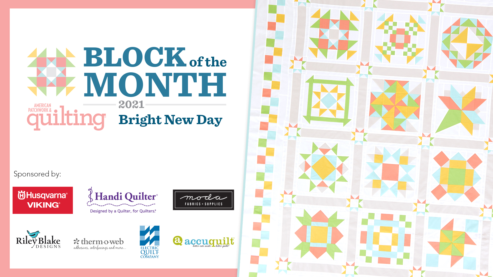 Bright New Day quilt with sponsor logos