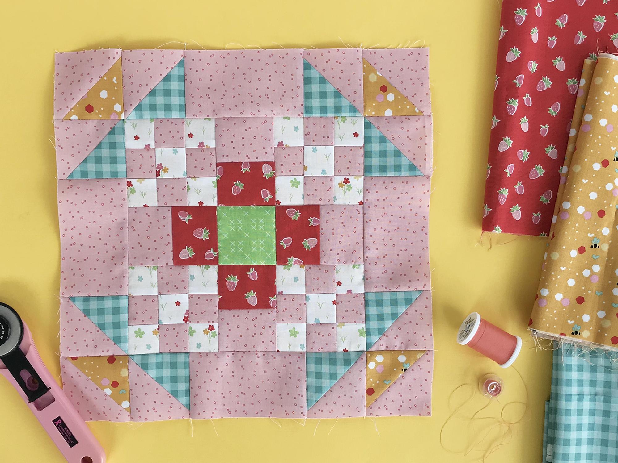 Bright New Day Block 2 made in Riley Blake Fabrics.