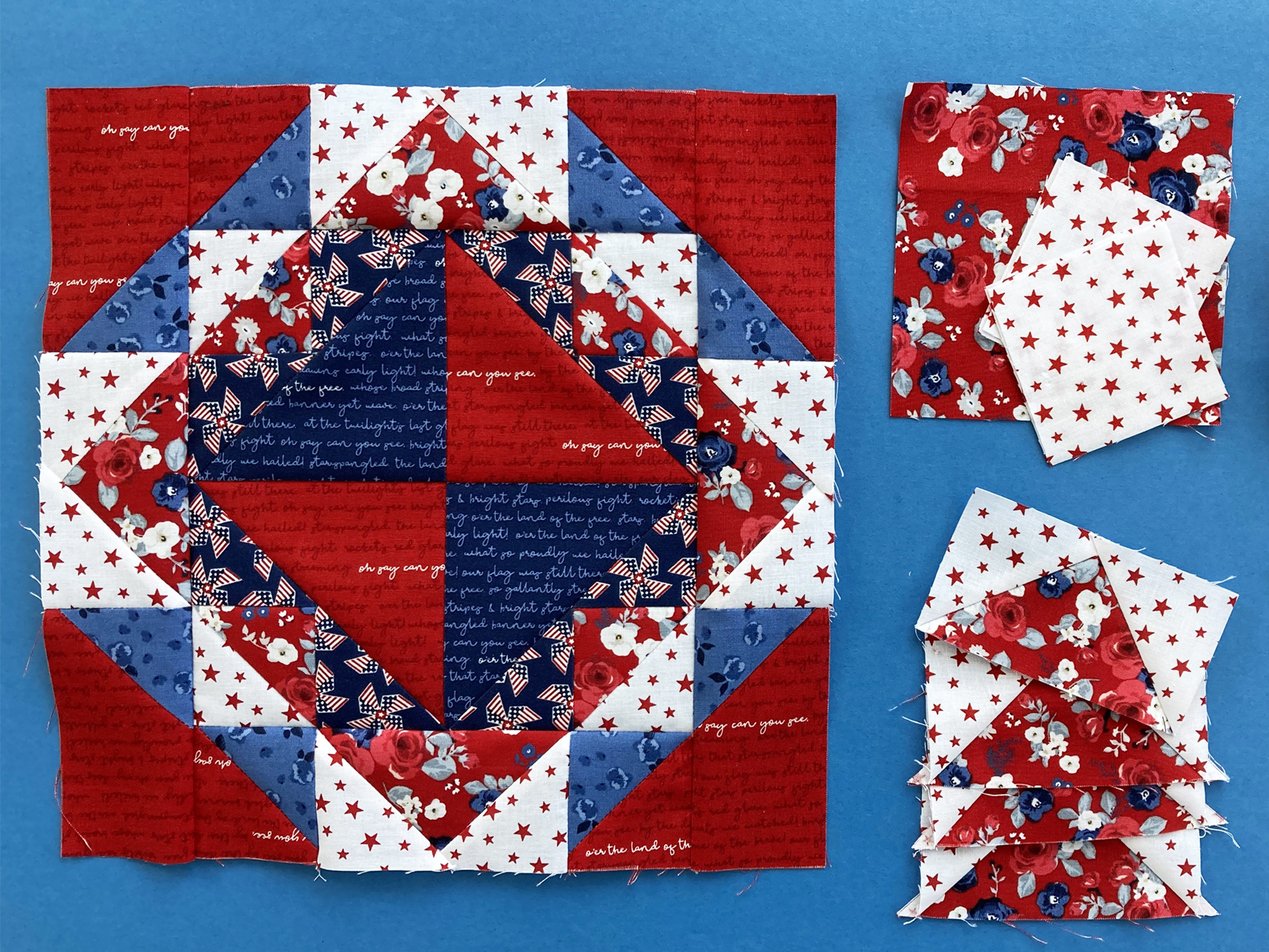 red white and blue block on blue background.