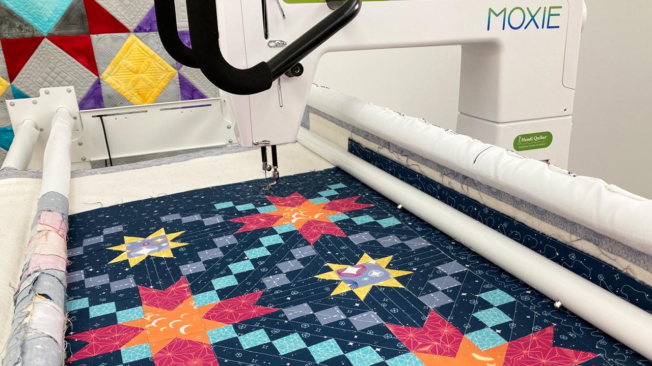 Quilt on Moxie longarm machine