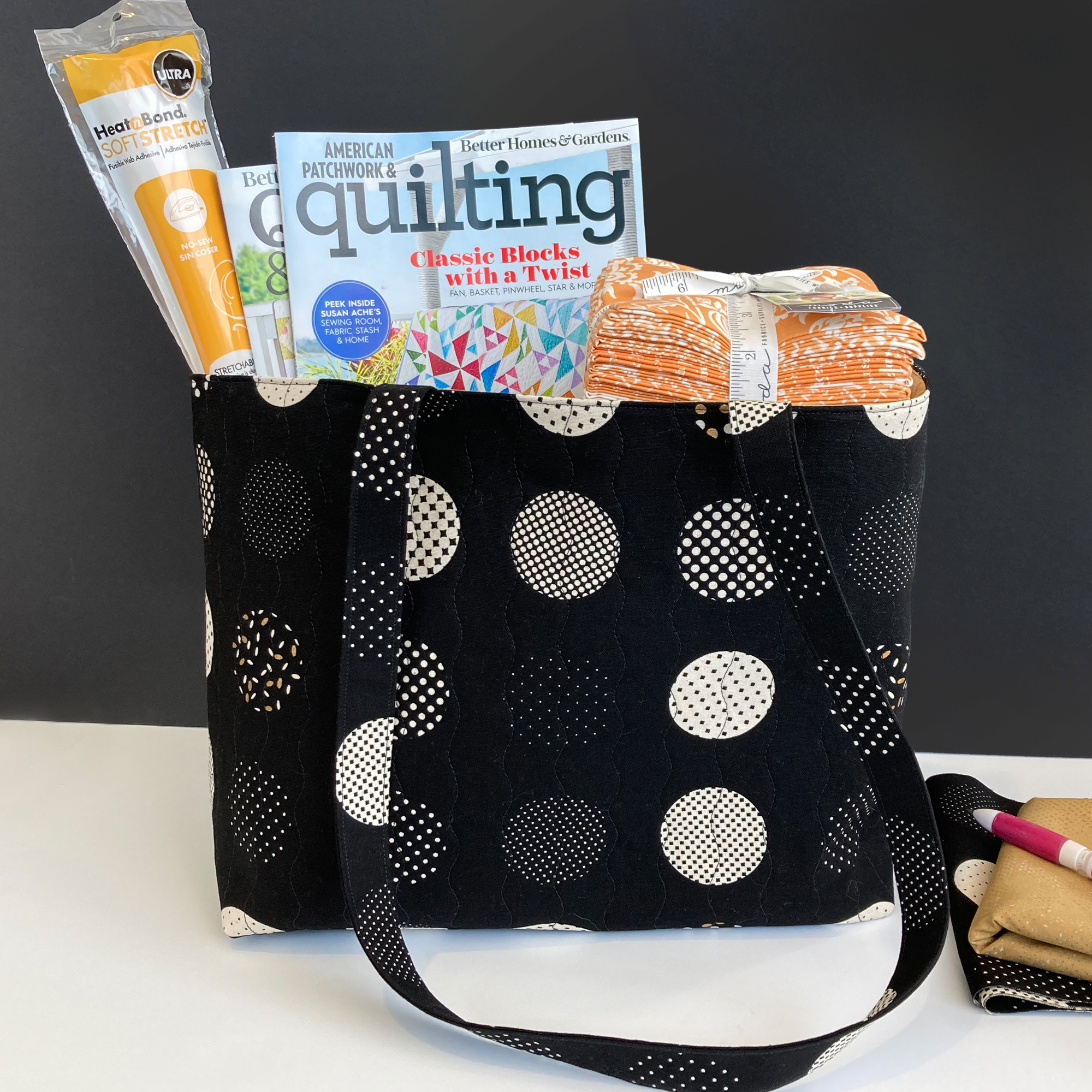 Black and white large dot bag with quilting supplies