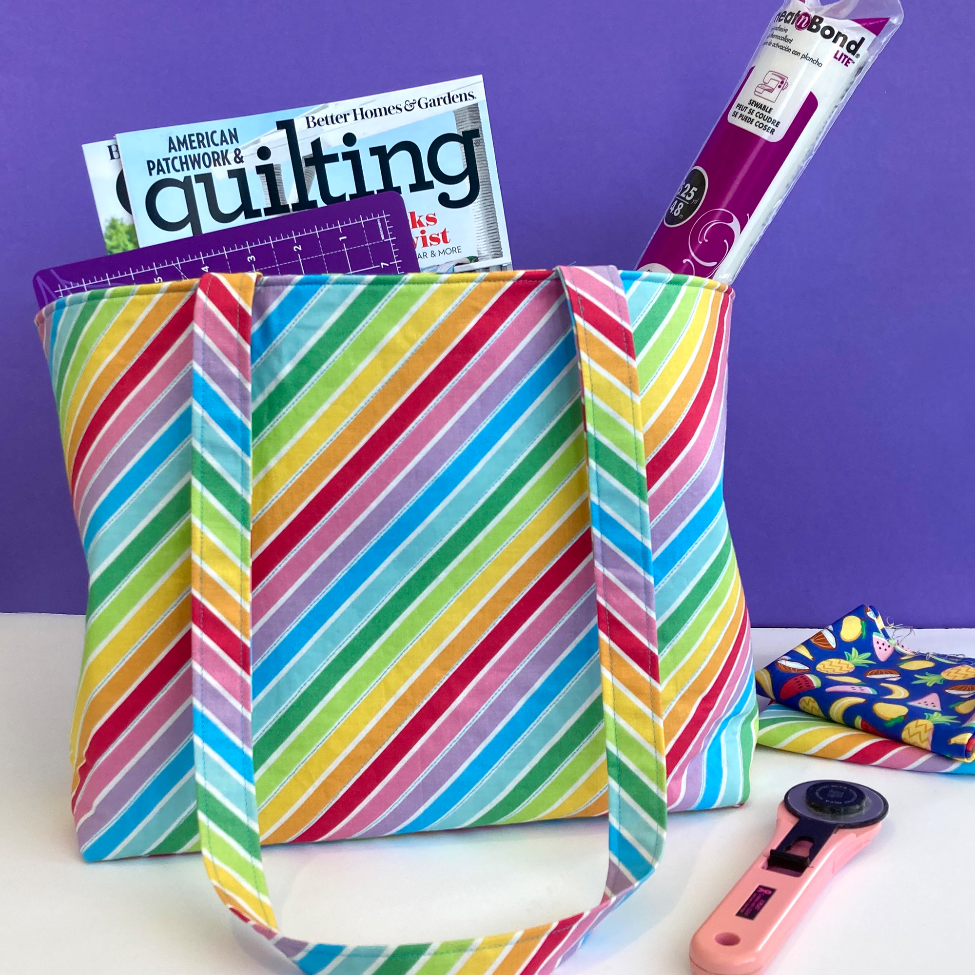 Rainbow Striped tote bag with quilting supplies