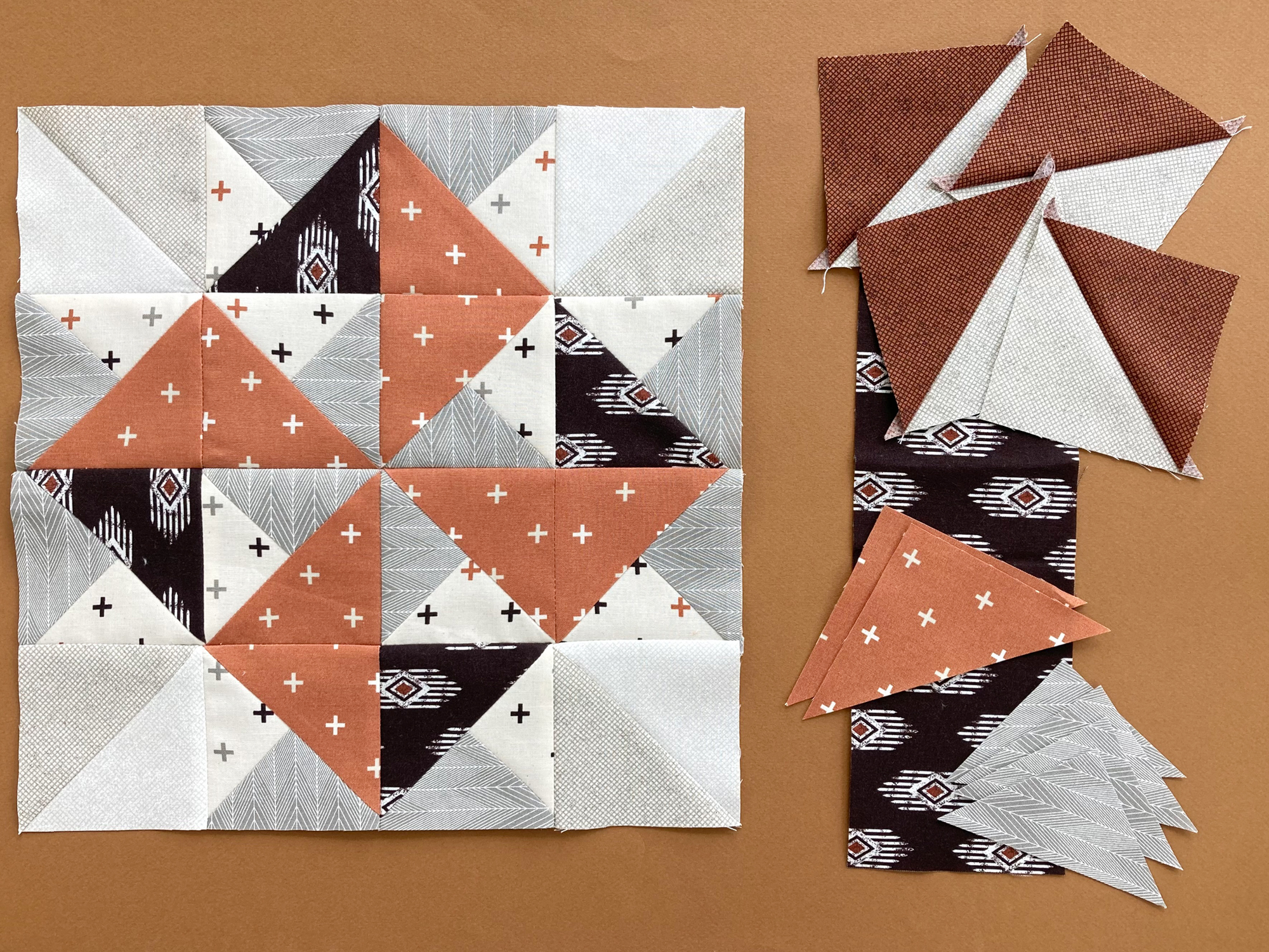Block 5 made with neutrals and orange Moda Fabrics