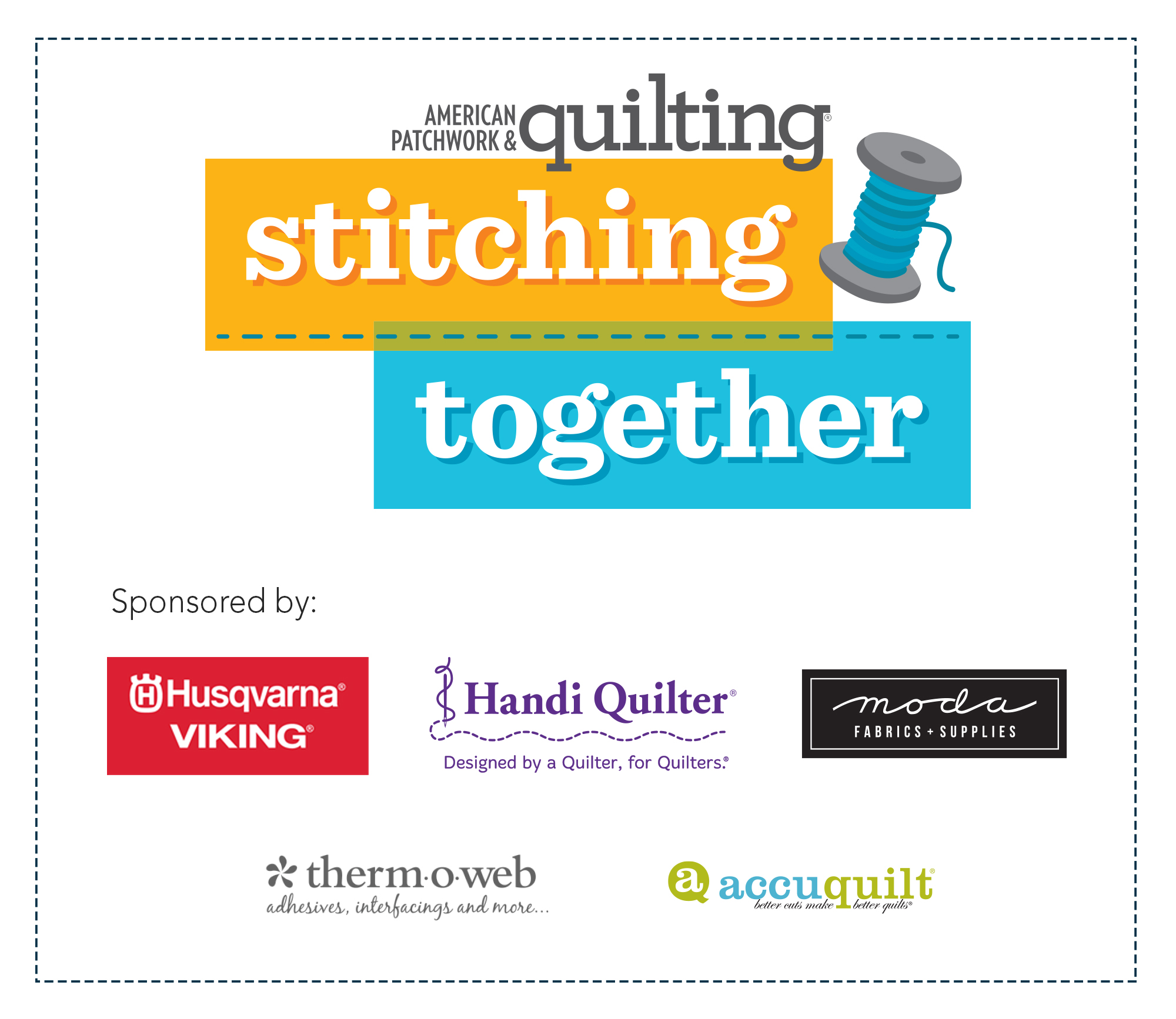 Stitching Together Logo with Sponsors