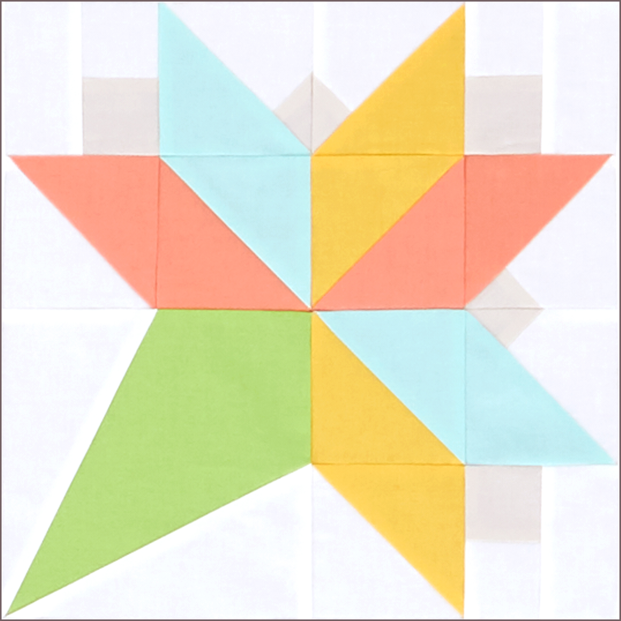 Bouquet quilt block in green, coral, yellow, and aqua