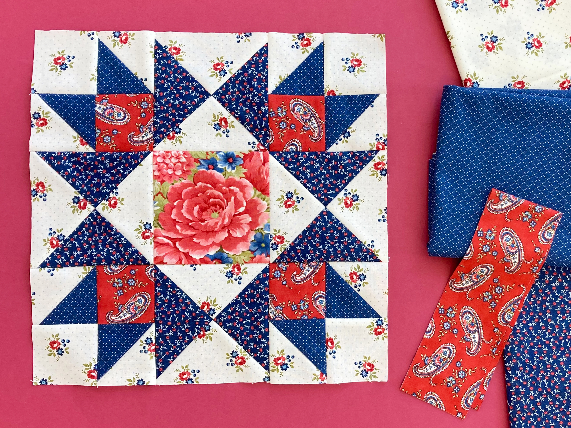 Bright New Day Block 8 made with red, white and blue florals and paisley