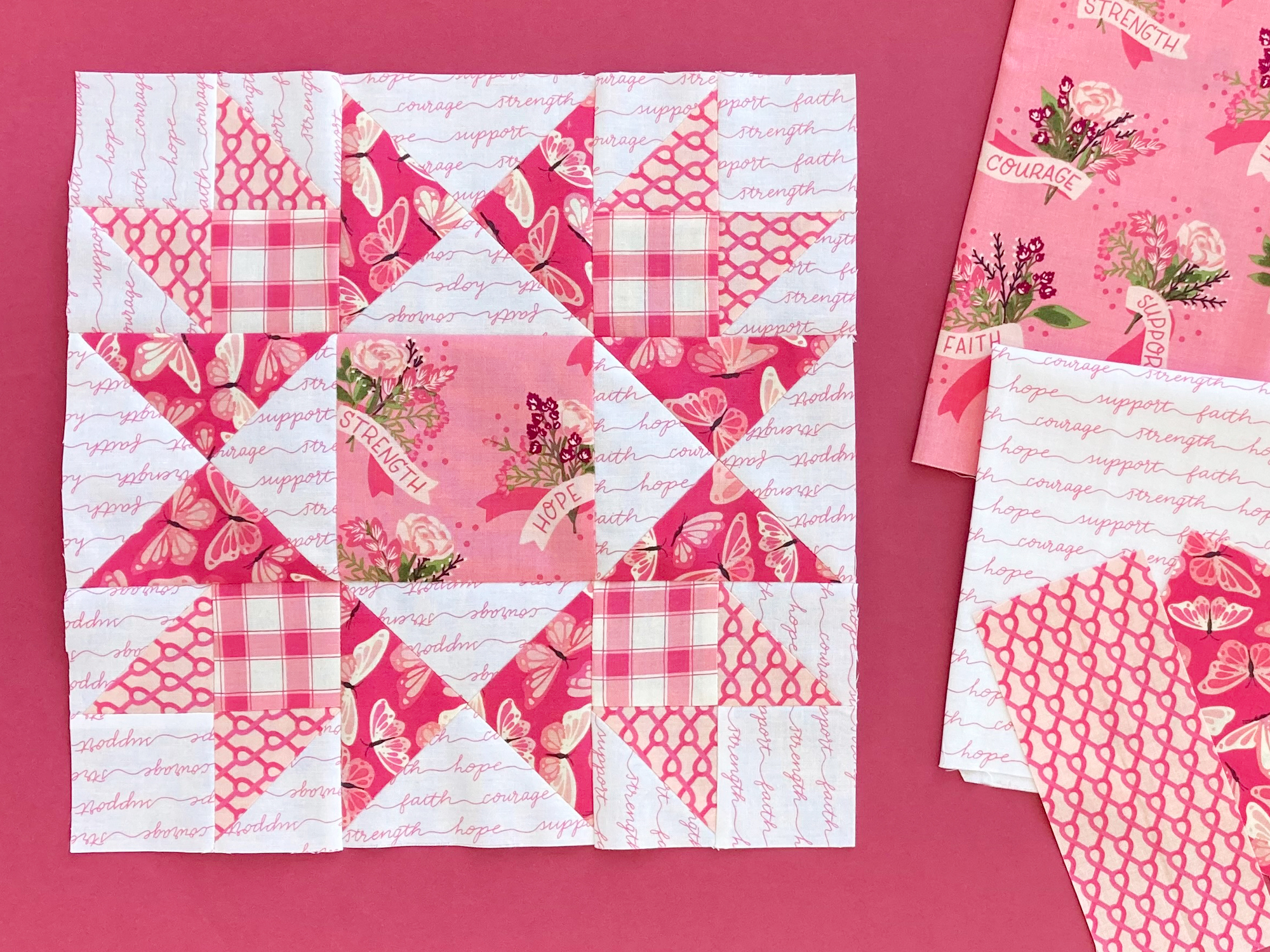 Bright New Day Block 8 created in pink breast cancer fabric