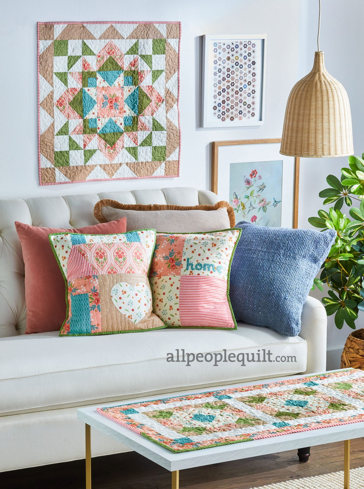 Fabrics: Primrose Hill collection by Melanie Collette of Hello Melly Designs from Riley Blake Designs                             Wall Quilt:                             Designer: Melanie Collette of Hello Melly Designs                             Adorn your wall with a pretty quilt that is a play on a traditional star block.                             Pillow Duo:                             Designer:Kristyne Czepuryk                             Celebrate the comforts of home with throw pillows featuring appliquéd accents.                             Table Runner:                             Designer:Amanda Niederhauser                             Versatile triangle-square units come together in a cheerful table runner.                             Missed this issue?Get a digital version here.