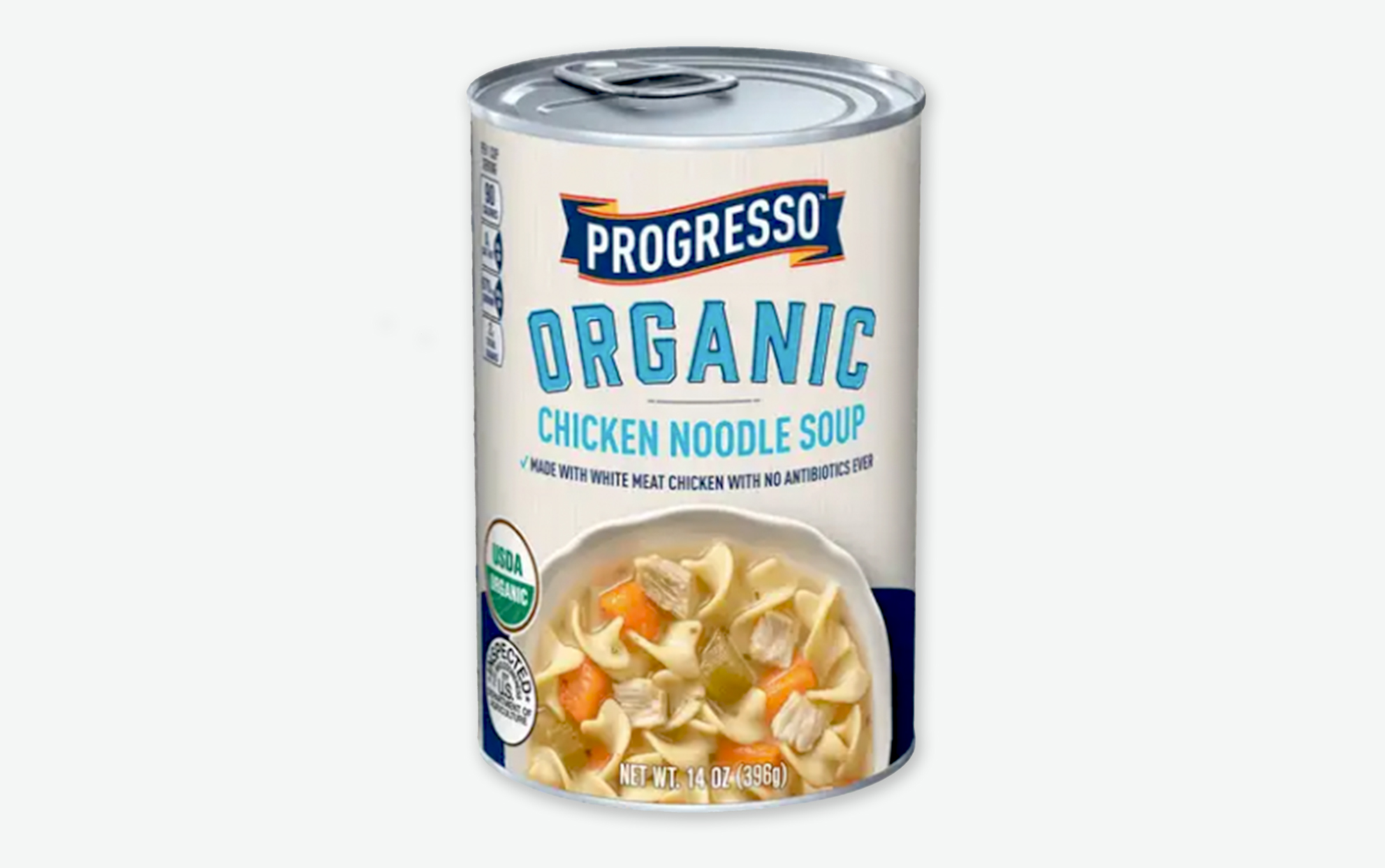 A can of Progresso Organic Chicken Noodle Soup