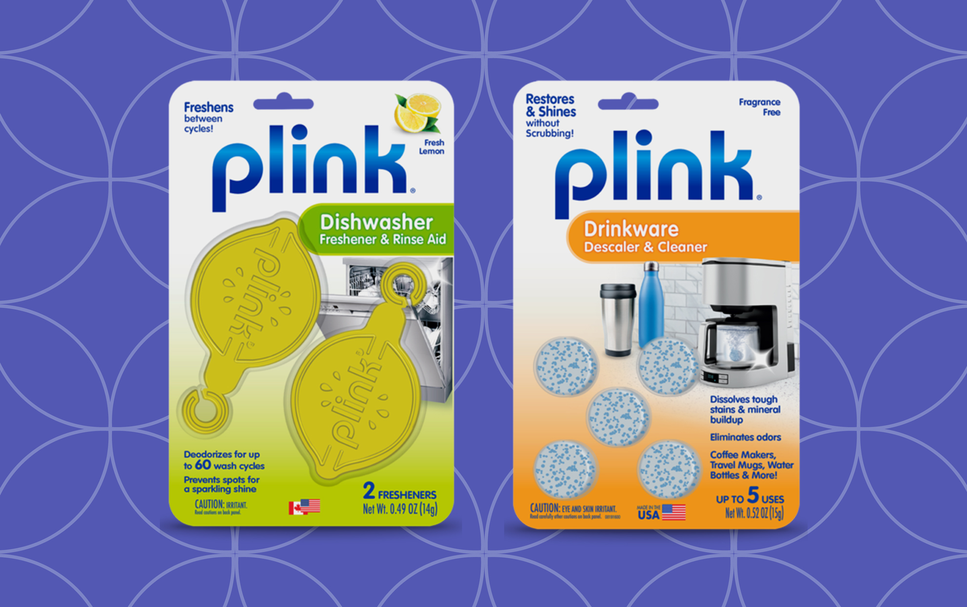 Plink dishwasher and drinkware cleaners on a blue background