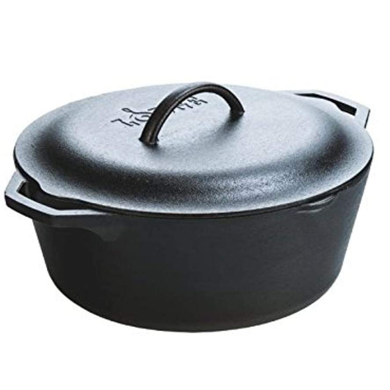 Lodge Pre-Seasoned Dutch Oven With Loop Handles and Cast Iron Cover