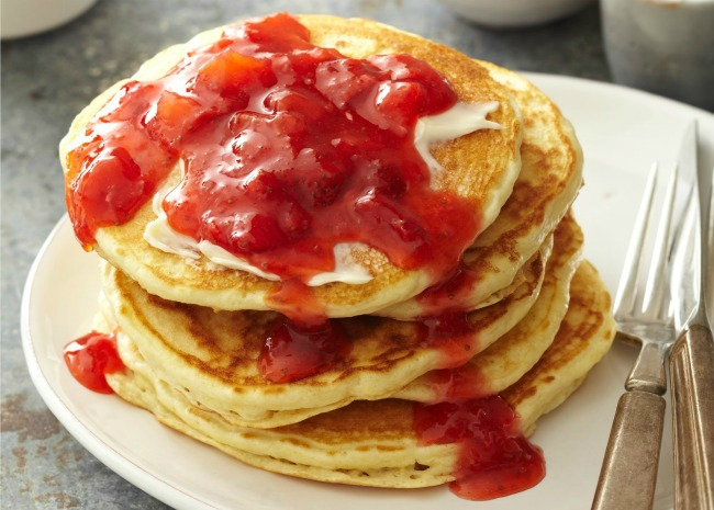 Strawberry Freezer jam and pancakes