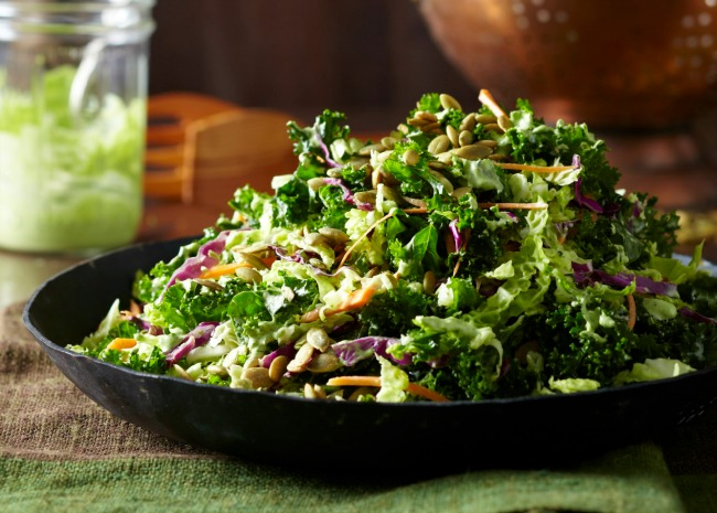 Kale salad with red cabbage and seeds