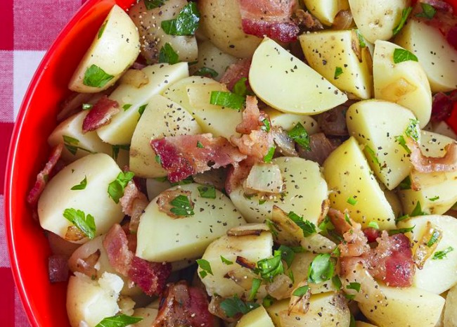 close up view of a bowl of Authentic German Potato Salad