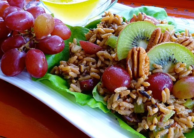 Nutty Wild Rice Salad with Kiwifruit and Grapes