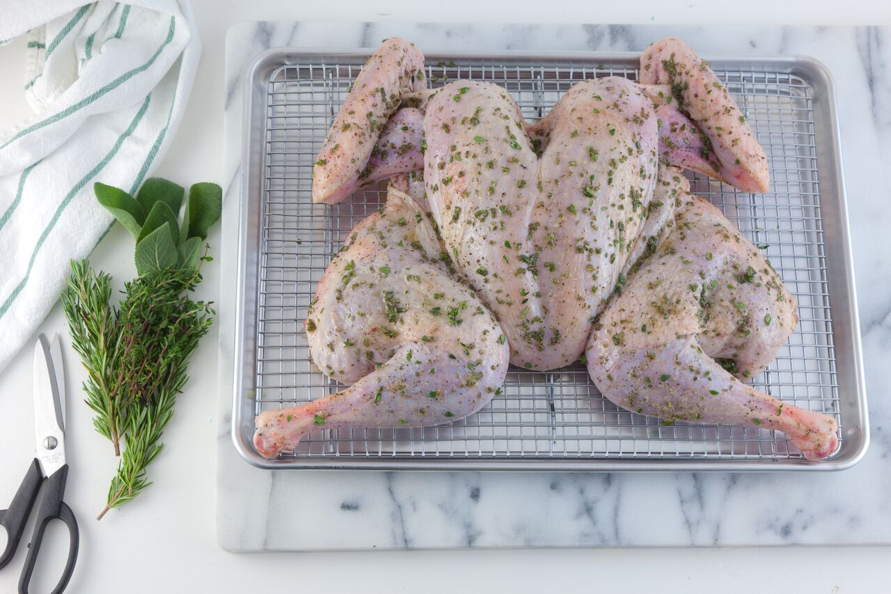 On Sheet Pan With Rack and Herbs