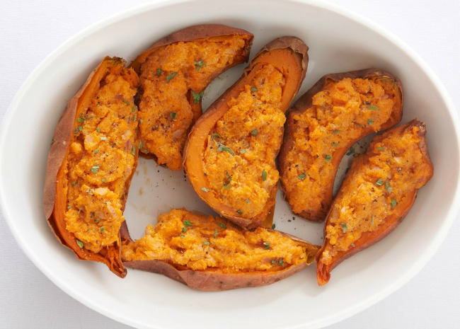 Twice Baked Sweet Potatoes with Ricotta Cheese
