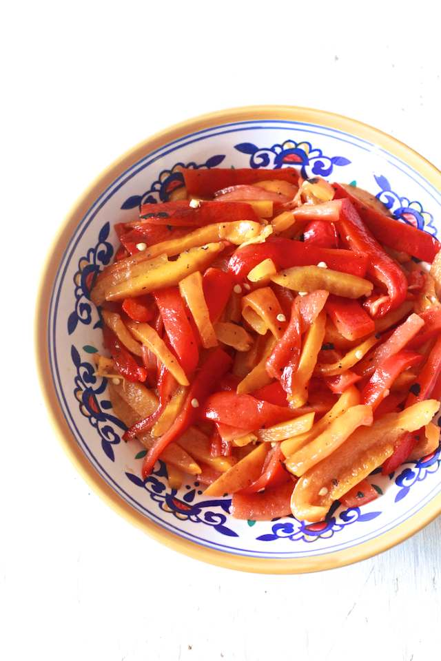 roasted peppers sliced and ready to eat