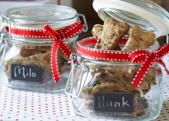 homemade dog biscuits in gift jars